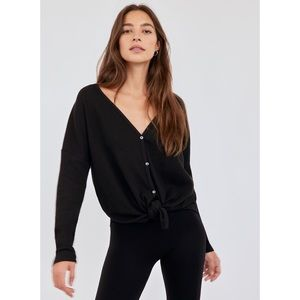 The Group Babaton Black Tie-Front Thermal Long Sleeve Top